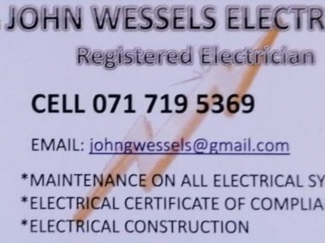 JOHN WESSELS ELECTRICAL – Registered Electricians