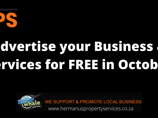 GET READY FOR SEASON – Advertise your Business & Services for FREE in October