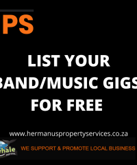 LIST YOUR LOCAL BAND/MUSIC GIGS/EVENTS FOR FREE WITH HPS